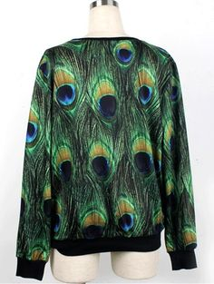 Fashionable Peacock Print Sweatshirt Read More:   http://www.fashinjewelry.com/fashionable-peacock-print-sweatshirt.html