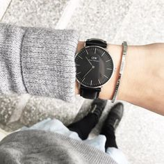 Classic Black Sheffield Get off at Daniel Wellington using the promo code: MELANIEX Daniel Wellington Watch Women, Daniel Wellington Classic Petite, Daniel Wellington Cuff, Dw Watch, Hand Watch, Black Face Watch, Stylish Watches, Fashion Watches, Hair And Beauty