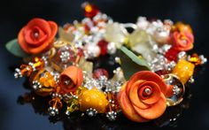 whimsical jewelry | Chunky charm bracelet - orange, red, yellow, lampwork, roses ...