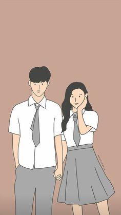 Cute Couple Drawings, Cute Couple Art, Anime Love Couple, Cute Drawings, Cute Couples, Chibi Couple, Couple Cartoon, Wattpad Background, Cute Couple Wallpaper