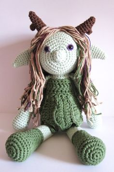 Handmade crochet fairy doll. Amigurumi made from cotton and acrylic yarns.  Pattern by LucyRavenscar