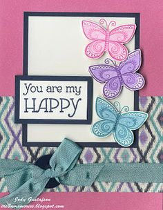 """Cre8n' Memories: We're Blog Hoppin' With """"You Are My Happy"""" Sarita card with butterflies. #Sarita #CTMH"""