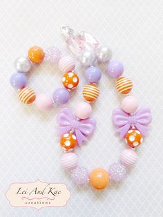 Easter Purple Bows Chunky Bubble Gum Necklace and/or Bracelet - Photo Prop Fashion Accessory