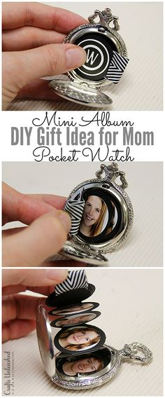 This DIY gift for mom mini album pocket watch project makes a fun homemade Christmas gift for grandmothers or anyone who would like a unique way to display special photos.