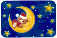 Bear Sleeping in the Moon and Stars Mouse Pad, Hot Pad or Trivet APH514BMP