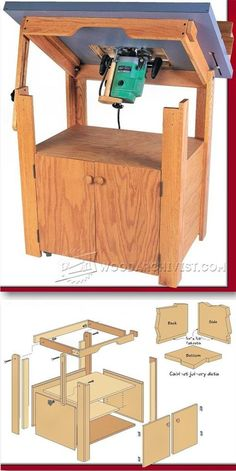 Tilt Top Router Table Plans - Router Tips, Jigs and Fixtures - Woodwork, Woodworking, Woodworking Plans, Woodworking Projects Woodworking Workbench, Woodworking Workshop, Woodworking Shop, Woodworking Projects, Woodworking Quotes, Youtube Woodworking, Woodworking Basics, Router Table Plans, Diy Router Table