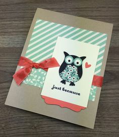 Stampin Up Owl Builder Punch Just Because Cards By Mary Fish StampinUp