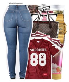"""""""Supreme Playboy"""" by melaning0ddess ❤ liked on Polyvore featuring Gucci, Victoria's Secret, River Island, Casio, Louis Vuitton and Vans"""