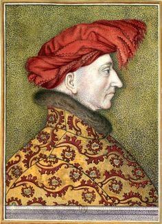 Louis II d'Anjou, roi de Naples, †1417. Dessin d'après un pastel original, à la Bibliothèque nationale(?) (Gaignières 1299). -- «Louis d'Anjou II du nom Roy de Naples, de Sicile, de Jerusalem, et d'Arragon (mort en 1417)»