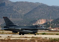 An F-16 Fighting Falcon taxis to the end of the flightline Aug. 12, 2014, prior to its launch during a training event at Souda Bay, Greece. The U.S. and Hellenic air forces prepare more than 20 aircraft launches a day for during the two-week bilateral training event. The F-16 is assigned to the 480th Fighter Squadron, Spangdahlem Air Base, Germany. (U.S. Air Force photo/Staff Sgt. Daryl Knee)