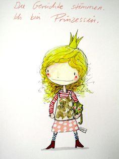 Illustrationen - Ich bin Prinzessin - ein Designerstück von Linnix bei DaWanda