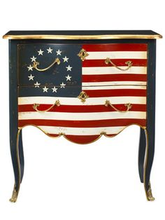 A triumph of Franco-American design, this painted cherrywood indulgence fuses Louis XV styling with a Betsy Ross–era flag.