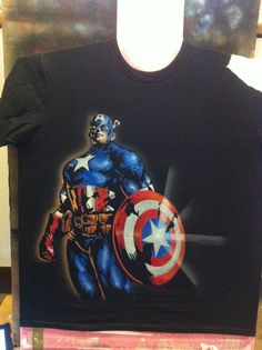 Airbrush Shirts, Airbrush Art, Captain America Shirt, Textiles, Custom Paint, Skulls, Comic Art, Art Work, Pop Art