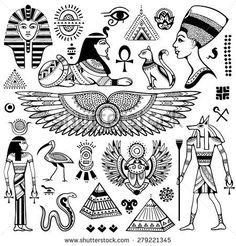 Set of Vector isolated Egypt symbols and objects dessins de tatouage 2019 - Tattoo designs - Dessins de tatouage Egyptian Symbols, Ancient Egyptian Art, Ancient Symbols, Mayan Symbols, Viking Symbols, Viking Runes, Egyptian Symbol Tattoo, Egyptian Eye Tattoos, Ancient History