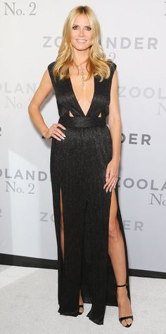 Heidi Klum pulled out all the stops for the Australian premiere of Zoolander 2, selecting a black double-slit Bec & Bridge gown with a plunging neckline and waist cut-outs, complete with a diamond necklace and Giuseppe Zanotti sandals for the occasion.