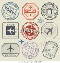 Travel Stamps Adventure Symbols Set Japan Stock Vector (Royalty Free) 583471927 Travel stamps or adventure symbols set, Japan airport theme, names of airports also in japanese language, vector illustration Adventure Symbol, Adventure Tattoo, Adventure Awaits, Adventure Travel, Airport Theme, American Retro, Travel Symbols, Wal Art, Luggage Stickers