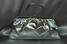 Silver  handbag mint vintage evening bag from the by PurseFancy