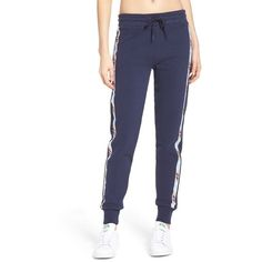 Women's Fila Dee Fleece Jogger Pants (€56) ❤ liked on Polyvore featuring activewear, activewear pants, peacoat, fila and fila sportswear