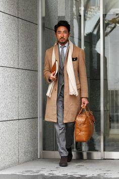 camel coat & suit