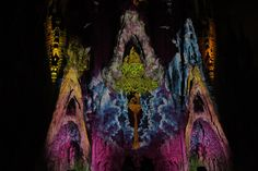 projection on the façade of gaudi's sagrada familia by moment factory