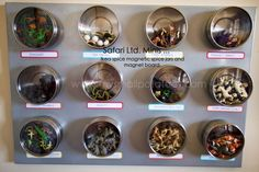 magnetic spice jars used for mini animals. Love this! I think these can be purchased from Ikea