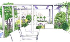 A design for a pergola to shade the dining patio in this garden and offer a frame to the kitchen garden beyond