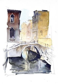 Darker shades of watercolour are used very effectively to add depth and perspective to this street view and make certain details stand more - like the water underneath the bridge. Watercolor Architecture, Watercolor Landscape, Watercolor Sketch, Watercolor Paintings, Venice Painting, City Sketch, Art Aquarelle, Ink In Water, Guache