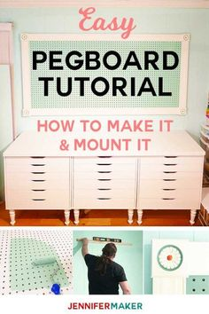 Large Framed Pegboard to Organize Your Craft Room – Jennifer Maker – Garage Organization DIY New Crafts, Home Crafts, Kids Crafts, Pegboard Organization, Workshop Organization, Craft Room Design, Craft Room Storage, Craft Rooms, Craft Room Organizing