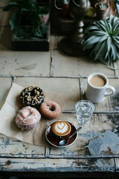 Doughnuts and coffee amazing combination.