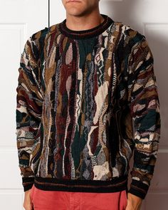 Men's Sweater - Protege Collection - Multi-Colored Textured - XL on Etsy, $27.00 ugly sweater, vintage men's fashion, 80s 90s party
