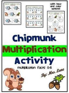 Do your elementary students need to practice basic multiplication facts 0 through 5? They will absolutely love playing this fun game with a chipmunk theme while practicing multiplication. It makes a great center, workstation, whole class, or one-on-one multiplication activity!   ================================================  *THIS PRODUCT INCLUDES:  Teacher Directions Student Directions Activity Cards Activity Board Activity Sheet Answer Key  *Includes black and white AND color printing…
