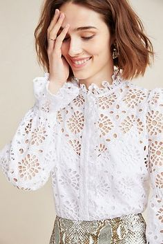 Anthropologie Diane von Furstenberg Rosalyn Eyelet Lace Top in White Cute Grunge Outfits, Boho Outfits, Casual Outfits, Blouse Styles, Blouse Designs, Spieth Und Wensky, Boho Fashion, Fashion Dresses, Eyelet Top
