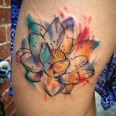 By Sheridan tattoo #tattoo #ink #lotus #color #girl #woman #water #watercolor #life #Melbourne #Australia #love #art #you #follow #sunday