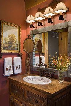 the sink.....mirror.....lighting....artwork ♥♥♥