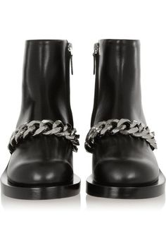 Givenchy - Laura Chain-trimmed Leather Ankle Boots - Black - IT35.5