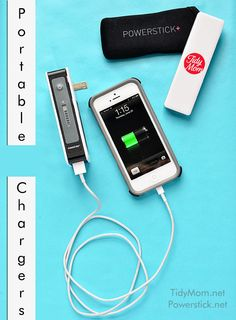 My favorite Portable Chargers from Powerstick.com | - the power trip can charge an iphone three times on one charge!  more info at TidyMom.net