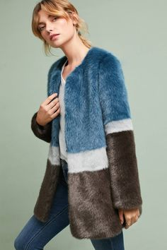 8ecff889d83e4 Shop the Colorblocked Faux Fur Coat and more Anthropologie at Anthropologie  today. Read customer reviews
