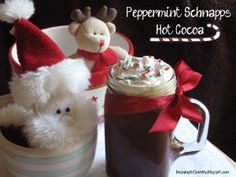 Homemade hot cocoa (from scratch) with peppermint schnapps. Great holiday recipe!
