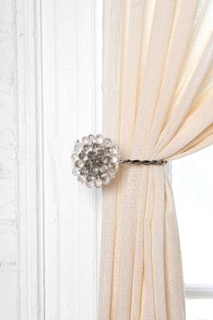 Lucy's Bathroom - Even if we didn't do valance but 2 shower curtains tied back would be adorable....Antique Brooch Curtain Tie-Back  #UrbanOutfitters