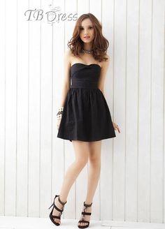 Stylish Strapless Bowknot Flowers Print Black Tunic Dress