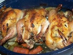 crock pot cornish hen recipe - Roast Cornish Hens With Sage and Garlic Meat Recipes, Wine Recipes, Crockpot Recipes, Chicken Recipes, Cooking Recipes, Yummy Recipes, Roasted Cornish Hen, Cornish Hen Recipe, Cornish Hens Crockpot