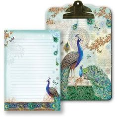 Royal Peacocks Clipboard & Notepad Set: Punch Studio: Peacock Gifts