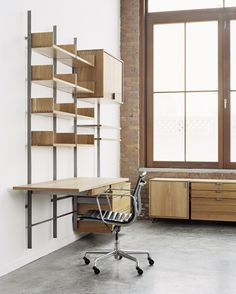 modular furniture system desk configuration in solid white oak & cold-rolled steel photograph by: Meredith Heuer Cheap Furniture, Furniture Plans, Furniture Design, Furniture Websites, Wooden Furniture, Entryway Furniture, Inexpensive Furniture, Furniture Nyc, Furniture Movers