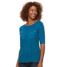 Women's Croft & Barrow® Solid Pocket Tee, Size: Medium, Dark Blue