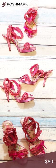 BETSEY JOHNSON Pink Gingham Crochet Lace Heels Betsey Johnson pink and white checkered gingham heels with pink crochet lace trim and bows on the toes. Can be wrapped around the ankle and worn two different ways. Flirty and fun. Could go well with a pin up look. Only the bottoms show wear. From the original high end Betsey Johnson line. Size 9M. No modeling. Smoke free home. I do discount bundles. Betsey Johnson Shoes Heels