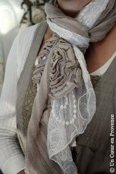 Cream & Taupe together - Romantic lace and cotton scarf Lace Scarf, Cotton Scarf, Scarf Wrap, Diy Scarf, Estilo Fashion, Look Fashion, Bracelets Roses, Romantic Lace, Linens And Lace