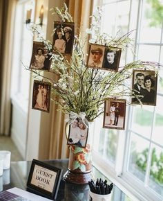 Good for weddings, but can also be used as a great funeral photo display or memorial phot display. Tree Wedding, Wedding Table, Our Wedding, Wedding Memorial Table, Wedding Ideas, Wedding Beach, Wedding Frames, Spring Wedding, Rustic Wedding