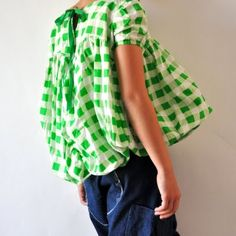 grass green gingham blouse