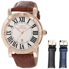 Invicta Men`s 13972 Specialty Watch Set Silver Dial Brown Leather Watch with 2 Additional Straps $208.50