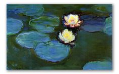 """Claude Monet painted """"Lotus Flowers""""in 1898. This painting is a famous masterpiece featured among the series of approximately 250 paintings by the artist depicting the water lilies of his garden."""